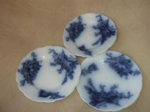 "5 X SMALL ANTIQUE LOVELY BLUE WHITE PLATES 4"" 2 X PARIS & 3 X CLIFTON DESIGNS"